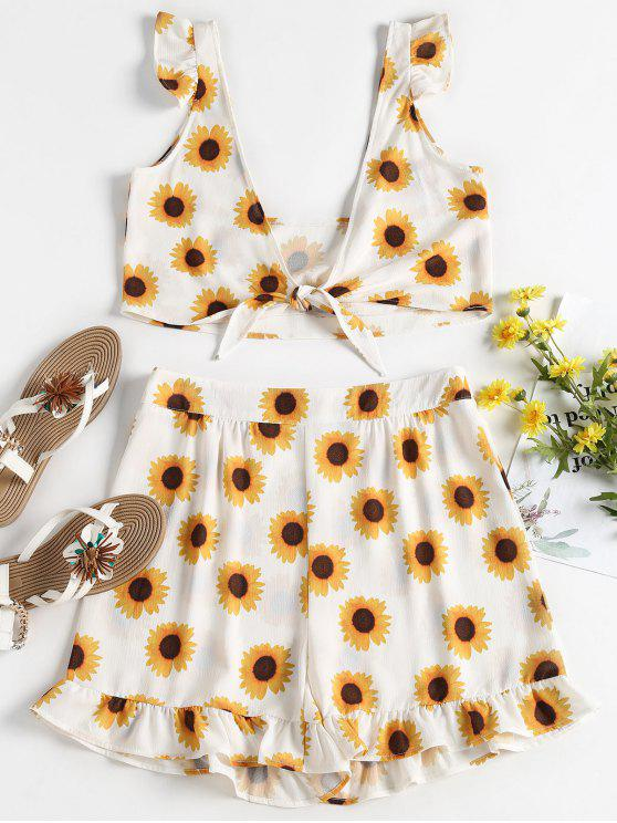 latest Sunflower Top Shorts Two Piece Set - WHITE L