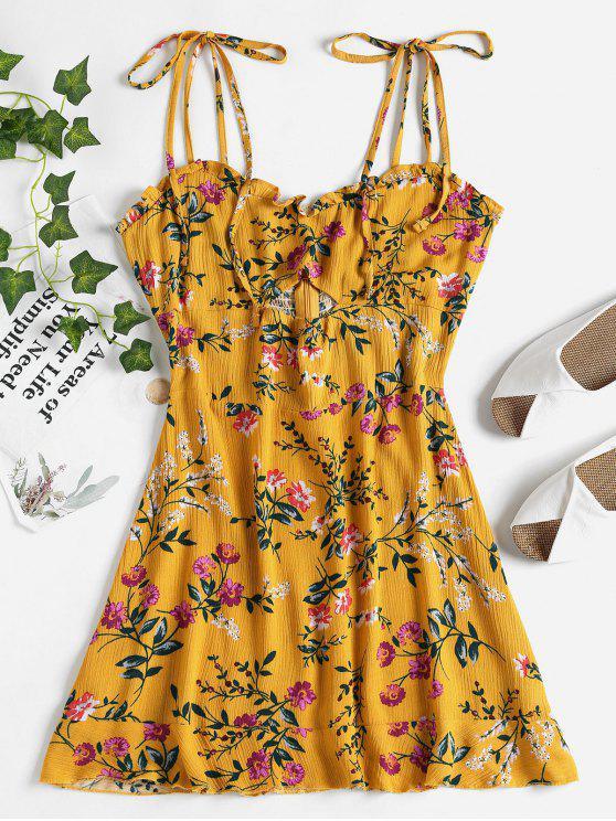 Blumen Ausgeschnittenes Mini Kleid - Goldgelb L