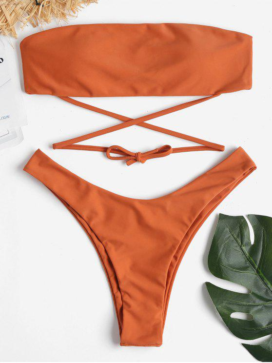 hot Strapless High Cut Bikini Set - TANGERINE S
