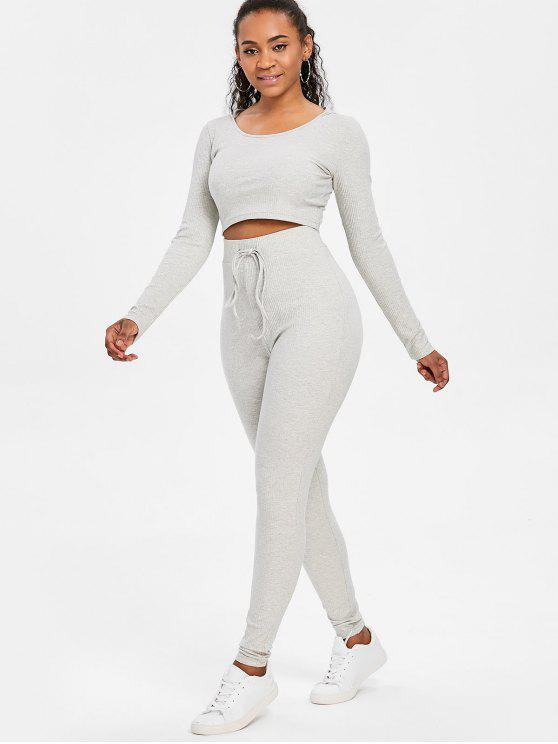 affordable Ribbed Crop Top and Pants Sweat Suit - GRAY CLOUD M