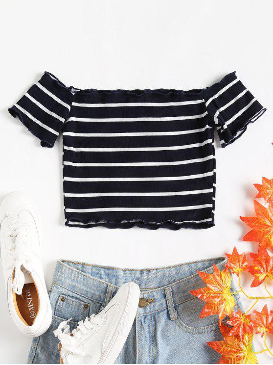 womens Off Shoulder Striped Knit Top - MIDNIGHT BLUE S