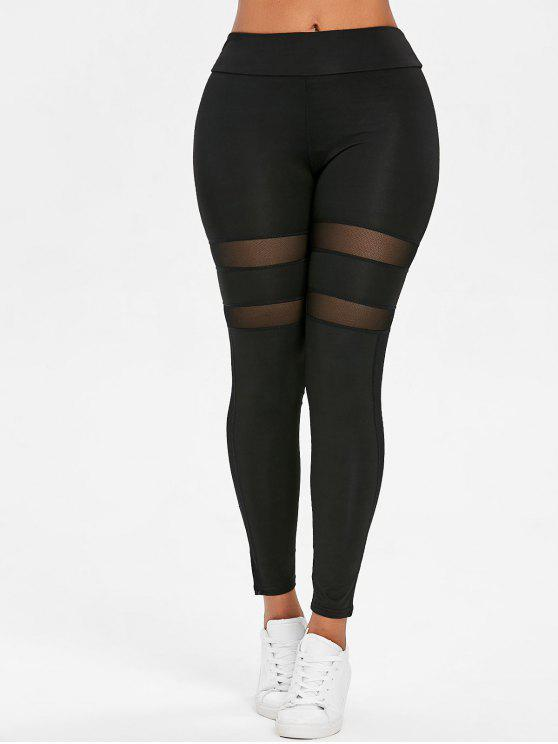 buy Mesh Panel Sport Leggings - BLACK S