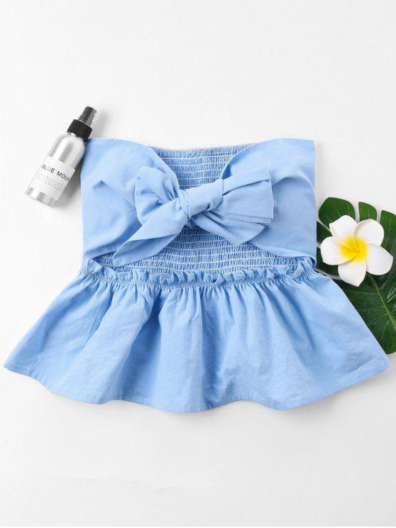 latest Cut Out Bowknot Tube Top - LIGHT BLUE S