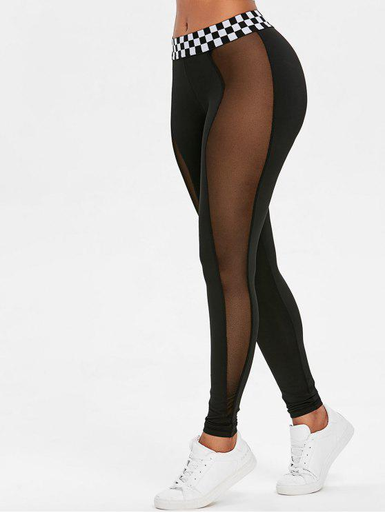 womens Contrast Waistband Mesh Sports Leggings - BLACK S