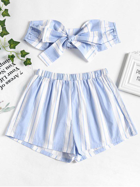 En Conjunto Pantalón Con Top L Y Azul De El Rayas Frente Corto Pálido q4140