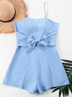 Bowknot Spaghetti Strap Romper - Light Blue Xl