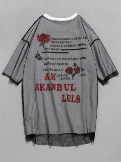 Tee-shirt Superposé En Maille à Motif De Lettre - Noir S