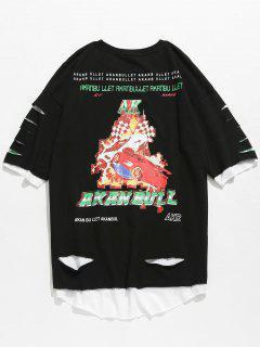 Camiseta Sin Mangas Estampada En Dobladillo Sin Rematar - Negro S