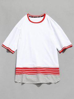Camiseta Con Panel De Rayas En Contraste - Blanco M