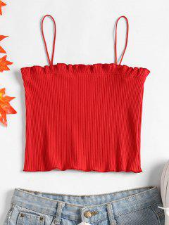 Lettuce Ribbed Cropped Cami Top - Love Red