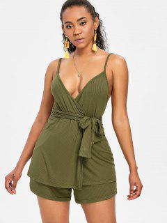 Spaghetti Strap Belted Shorts Set - Army Green M