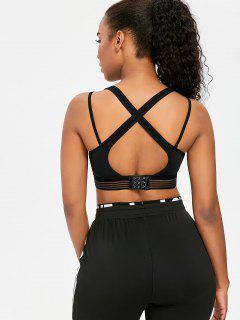 Shadow Striped Mesh Overlay Sports Bra - Black M