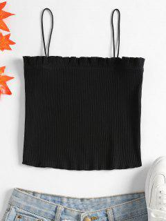 Lettuce Ribbed Cropped Cami Top - Black