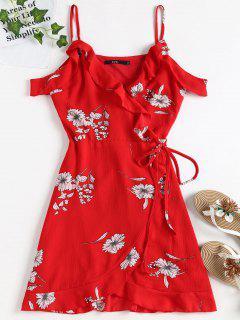 Cold Shoulder Ruffle Mini Wrap Dress - Love Red M