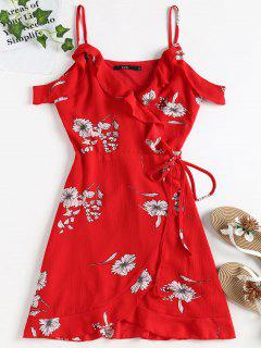 Cold Shoulder Ruffle Mini Wrap Dress - Love Red Xl