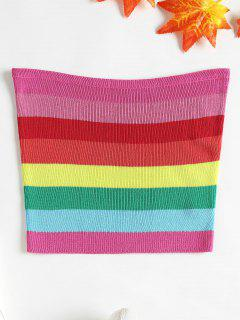 Knit Striped Tube Top - Multi L