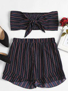 Smocked Stripes Tie Front Set - Midnight Blue L