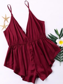 Plus Size Open Back Satin Romper - Red Wine 2xl