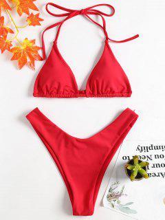 Hohes Bein Halter Bikini-Set - Liebes Rot S
