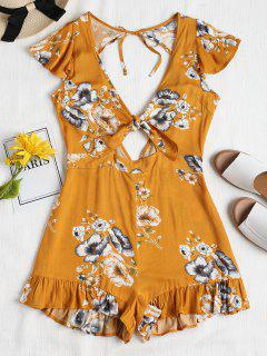 Floral Tie Front Ruffle Romper - School Bus Yellow M