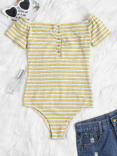 Buttoned Striped Off The Shoulder Bodysuit - Bright Yellow L