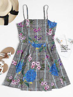 Houndstooth Floral Mini Skater Dress - Multi L