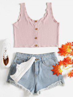 Buttoned Ribbed Scoop Tank Top - Light Pink S