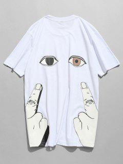 Short Sleeve Finger Eye Print Tee - White M