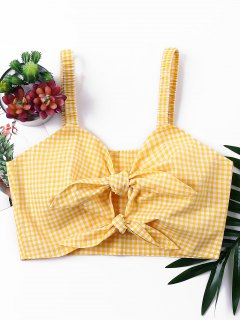 Knotted Gingham Tank Top - Bee Yellow L