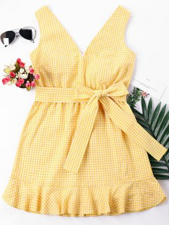 Gingham Mini Mermaid Dress - Bee Yellow M