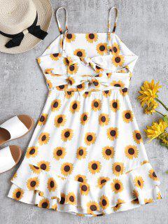 Sunflower Print Ruffle Sundress - White L