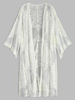 Embroidered Long Sleeve Kimono - White