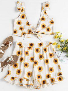 Sunflower Top Shorts Two Piece Set - White L
