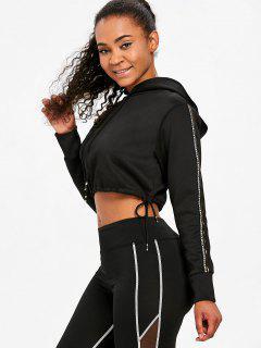 Contrast Stripe Sleeve Cropped Hoodie - Black L