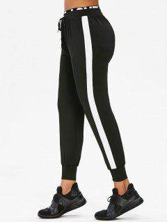 Side Stripe Jogger Tracksuit Pants - Black M