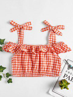 Tapa De Gingham Cold Shoulder - Naranja L