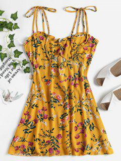 Floral Cut Out Mini Dress - Golden Brown S