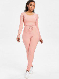 Ribbed Crop Top And Pants Sweat Suit - Light Pink L