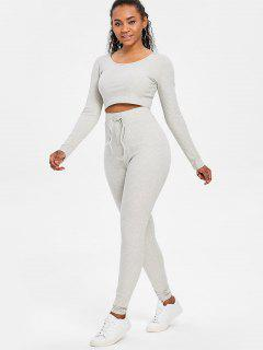 Ribbed Crop Top And Pants Sweat Suit - Gray Cloud M