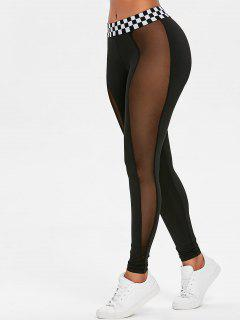 Contrast Waistband Mesh Sports Leggings - Black L