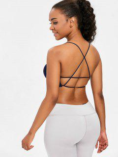 Strappy Low Impact Yoga Sports Bra - Navy Blue