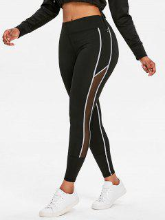 Contrasting Mesh High Waisted Sports Leggings - Black M
