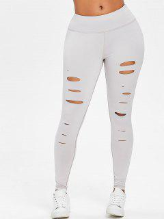Slash Gym Sports Leggings - Light Gray L