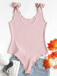 Tie Strap Ribbed Bodysuit - Light Pink S