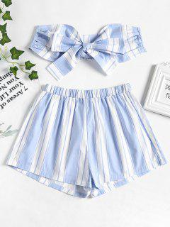 Tie Front Stripes Top And Shorts Set - Powder Blue L