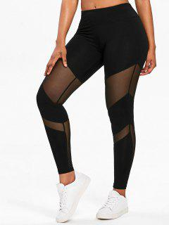 Mesh Panel Gym Sports Leggings - Black L