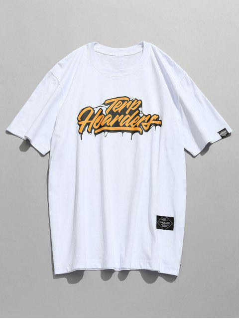 fashion Casual Short Sleeve Patterned Tee - WHITE 2XL Mobile