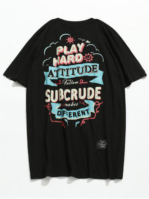 new Short Sleeve Letter Printed Tee - BLACK M Mobile