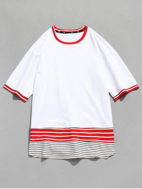 Camiseta con panel de rayas en contraste - Blanco M Mobile