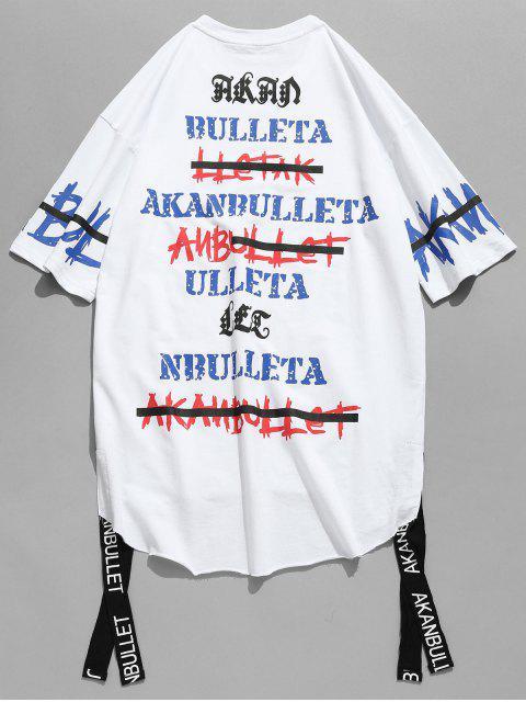 T-shirt Lettre Imprimé à Ourlet Brut avec Ruban - Blanc S Mobile